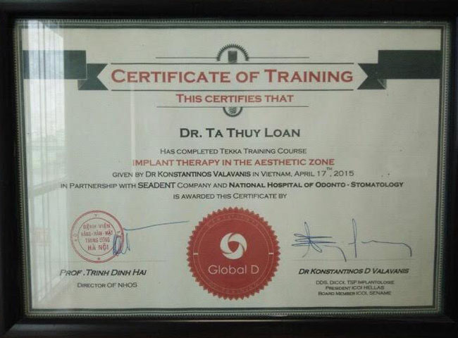 Certificate of training (Dr. Tạ Thúy Loan)